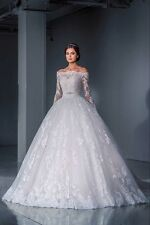 Long Sleeve Appliques Lace Whtie/Ivory Wedding Dress Bridal Gown Custom Made Hot