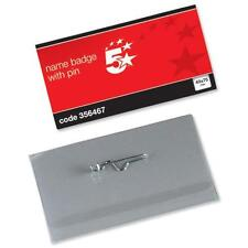 Name Visitor ID Badges Plastic with Pin & Inserts 40x75mm - 356467