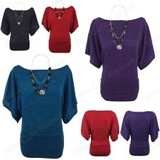 WOMENS LADIES MARL KNITTED CASUAL BATWING SLEEVE TUNIC TOP JUMPER PLUS SIZE 8-22