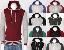 Mens CONTRAST Zip Fleece Hoodie Hood Jumper Sweatshirt Outerwear PLUS Sizes NEW