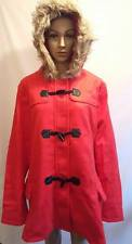 Ladies Faux Fur trim double red coat jacket size 22