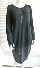Sequin trimmed soft cotton knit Cocoon shaped tunic dress – Petrina