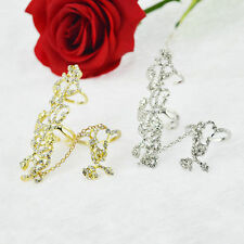 Fashion Jewelry Women Rings Multiple Finger Stack Knuckle Band Rose Crystal Ring