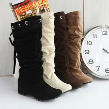 Fashion Women's Faux Suede Shoes Low Heel Pull On Mid Calf Lace Up Boots F022