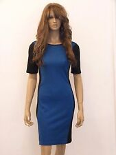 New womens black with blue front panel short sleeved bodycon dress size 10-20