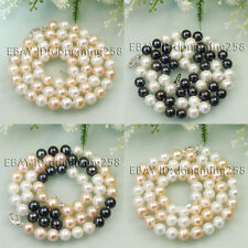 s019 genuine AA 7-8mm 8-9mm freshwater cutlured white black pink pearl necklace