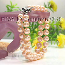 s031 2 Rows AA 8-9mm 9-10mm White Pink Black FreshWater Cultured Pearl Bracelets