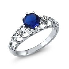 0.87 Ct Round Blue Simulated Sapphire White Diamond 925 Sterling Silver Ring