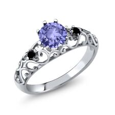1.01 Ct Round Blue Tanzanite Black Diamond 925 Sterling Silver Ring