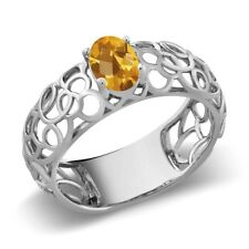 0.70 Ct Oval Checkerboard Yellow Citrine 925 Sterling Silver Ring