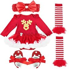 Baby Girl Infant Christmas Party Outfit Tutu Jumpsuit Romper Reindeer Sets Dress