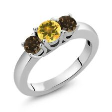 0.97 Ct Round Yellow Citrine Brown Smoky Quartz 925 Sterling Silver Ring