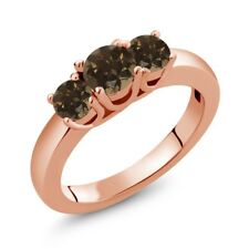0.98 Ct Round Brown Smoky Quartz 18K Rose Gold Plated Silver Ring