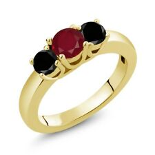 1.09 Ct Round Red Ruby Black Diamond 18K Yellow Gold Plated Silver Ring