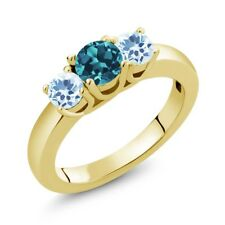 1.16 Ct Round London Blue Topaz Sky Blue Topaz 18K Yellow Gold Ring