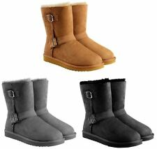 NEW-Kirkland Signature Ladies' Shearling Buckle Boot Genuine Sheepskin, Sz 6-10