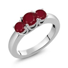 1.15 Ct Round Red Ruby 18K White Gold Ring