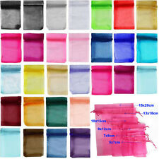 Lots 20/100X Soild Organza Gift Jewellery Pouch Wedding Favour Durable Bag 3Size
