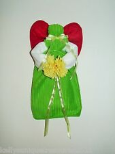 Green, Red and White Towel Angel With a Yellow Flower and Bows Can Hang or Sit