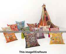 """Indian Cushion 16"""" Patchwork Embroidered Pillow Cover Throw Handmade Decor Art"""