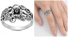 Sterling Silver 925 PRETTY PLUMERIA FLOWER DESIGN SILVER RING 12MM SIZES 5-10
