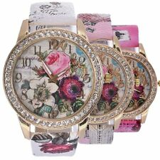 NEWEST Fashion Womens Wrist Watch Flower Rose Leather Crystal Casual Girl Watch
