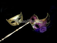Purple Stick Masquerade mask couple quinceanera birthday bachelor school prom