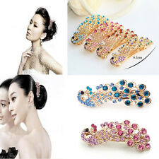 New Fashion Vintage Women Crystal Rhinestone Peacock Hair Barrette Clip Hairpin