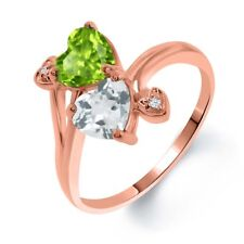 1.81 Ct Green Peridot Sky Blue Topaz 18K Rose Gold Plated Silver Ring