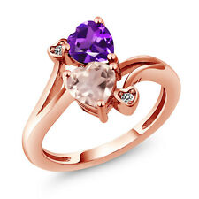 1.38 Ct Heart Shape Rose Rose Quartz Purple Amethyst 14K Rose Gold Ring
