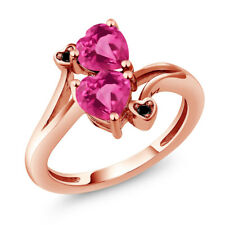 1.93 Ct Heart Shape Pink Mystic Topaz 18K Rose Gold Plated Silver Ring