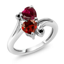 1.90 Ct Heart Shape Red Garnet Red Created Ruby 14K White Gold Ring