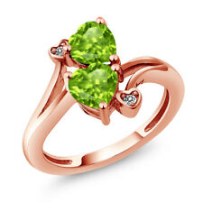1.69 Ct Heart Shape Green Peridot 18K Rose Gold Plated Silver Ring