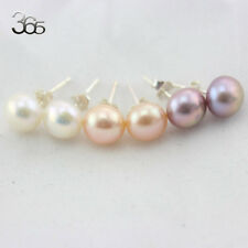 8mm Button Coin Freshwater Pearl S925 Silver Stud Jewelry Earrings 1 Pair
