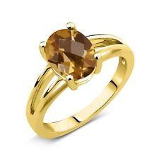 1.40 Ct Oval Checkerboard Champagne Quartz 18K Yellow Gold Plated Silver Ring