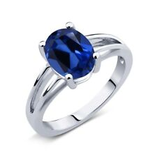 2.30 Ct Oval Blue Simulated Sapphire 925 Sterling Silver Solitaire Ring
