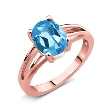 1.80 Ct Oval Swiss Blue Topaz 18K Rose Gold Solitaire Ring