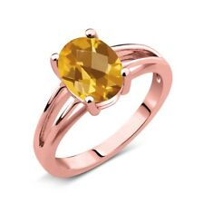 1.30 Ct Oval Checkerboard Yellow Citrine 14K Rose Gold Solitaire Ring