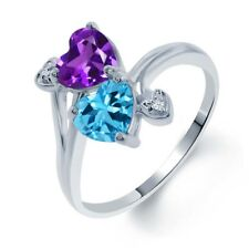 1.63 Ct Heart Shape Purple Amethyst Swiss Blue Topaz 14K White Gold Ring
