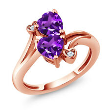 1.33 Ct Heart Shape Purple Amethyst 18K Rose Gold Plated Silver Ring