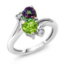 1.81 Ct Heart Shape Green Peridot Green Mystic Topaz 925 Sterling Silver Ring