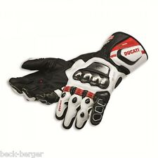 DUCATI Dainese Corse C2 Racing Gloves Leather Gloves black white new