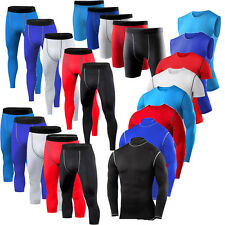 Mens Running Tights Thermal Base Layer Compression Tops Trousers Shorts
