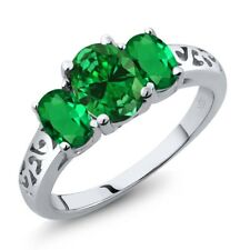 2.90 Ct Oval Green Simulated Emerald Green Simulated Emerald 14K White Gold Ring