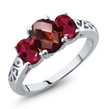 2.40 Ct Oval Checkerboard Red Garnet Red Created Ruby 14K White Gold Ring