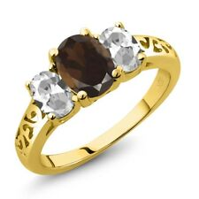 2.20 Ct Oval Brown Smoky Quartz White Topaz 18K Yellow Gold Plated Silver Ring