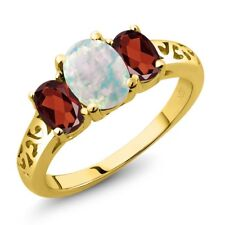 2.05 Ct Oval Cabochon White Simulated Opal Red Garnet 14K Yellow Gold Ring