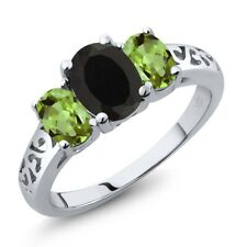 2.25 Ct Oval Black Onyx Green Peridot 925 Sterling Silver Ring