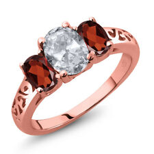 2.30 Ct Oval White Topaz Red Garnet 18K Rose Gold Plated Silver Ring