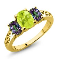 2.10 Ct Oval Yellow Lemon Quartz Green Mystic Topaz 14K Yellow Gold Ring